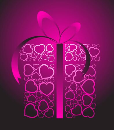 yearning: Stylized love present box made from pink hearts Stock Photo