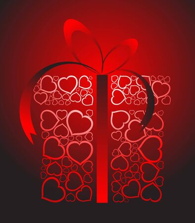 yearning: Stylized love present box made from red hearts  Stock Photo