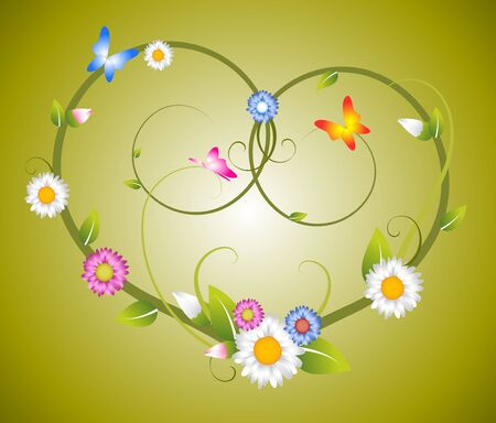 yearning: Spring floral heart made from flowers and butterflies