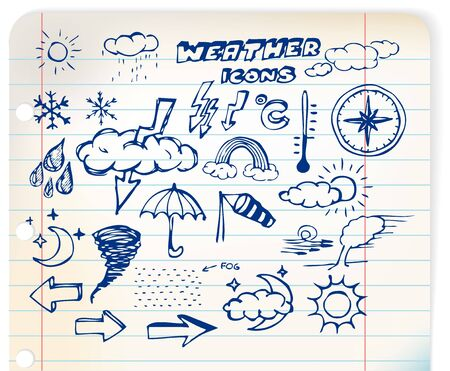 meteorologist: Set of grunge weather hand drawing icons on lined paper Stock Photo
