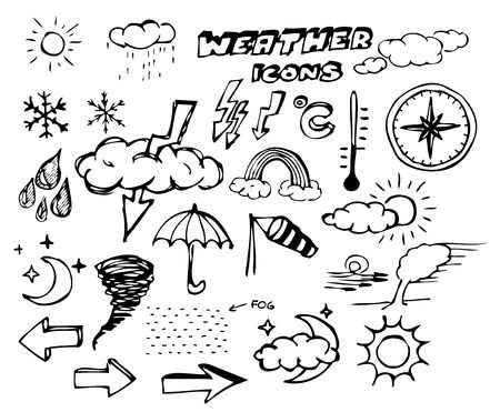 meteorologist: Set of weather hand drawing icons on white