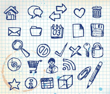 Set of doodle computer icons for your webdesign on squared paper photo