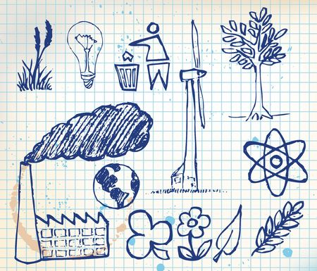 Set of ecology hand-drawn icons - doodles  on chequered paper (vector) photo