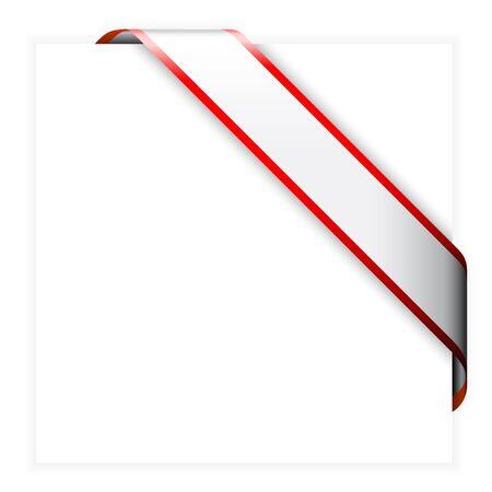 nastro angolo: Nastro rosso e bianco angolo colorato - � possibile scrivere del testo su di esso (vendita, nuova, venduta, libera, calda, ecc.)
