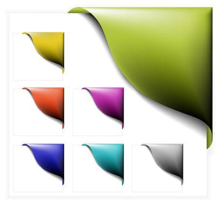 Set di nastri colorati angolo su bianco  Vettoriali