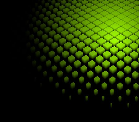 green and black: 3d abstract dynamic green background on black Illustration