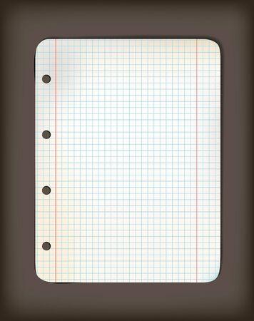 originally: Sheet of old squared grunge (originally white) paper on dark background ( illustration)
