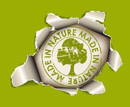 Ecologische, biologische item - gat in het vel papier - groene versie