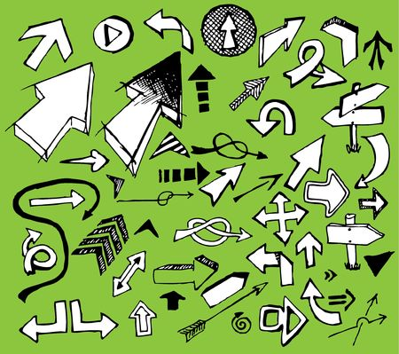 Set of white doodle arrows on green background Stock Vector - 6696704