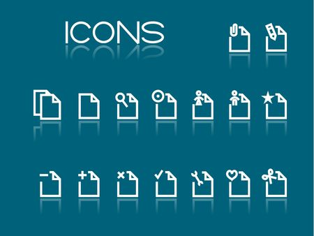 Set of simple white icons on blue background Vector