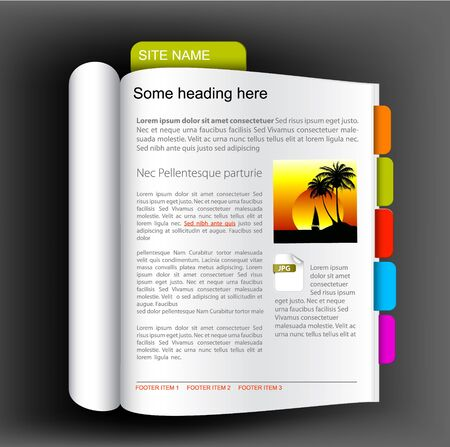 page views: Web site template - Open book with colorful bookmarks