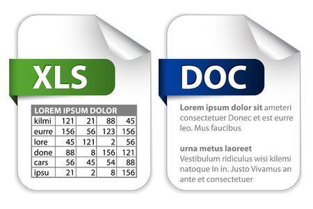 hoja de calculo: conjunto de iconos para las extensiones de archivo de office (texto, hoja de c�lculo)