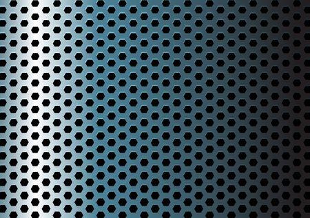 Textura de metal / patrón con orificios de hexágono  Ilustración de vector