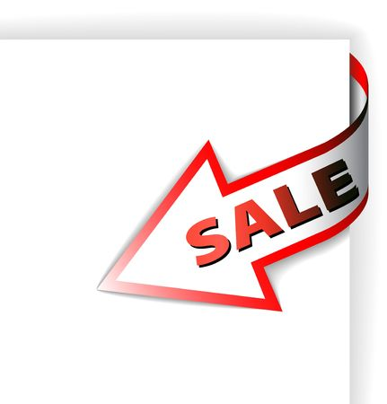 an illustration promoting: Sale red corner ribbon - arrow pointing at the item in discount
