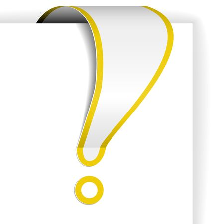 eshop: White exclamation mark with yellow border - tag for important items in eshop Illustration