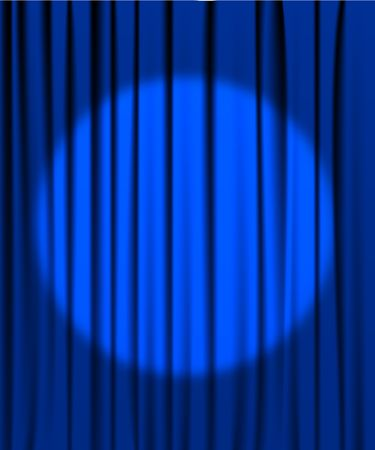 Dramatic: Blue curtain from the theatre with a spotlight Illustration