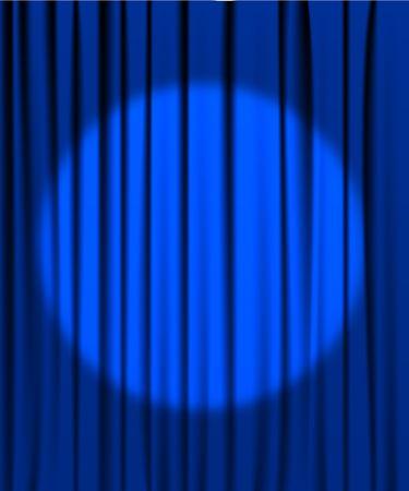 telon de teatro: Cortina azul desde el teatro con un foco de iluminaci�n