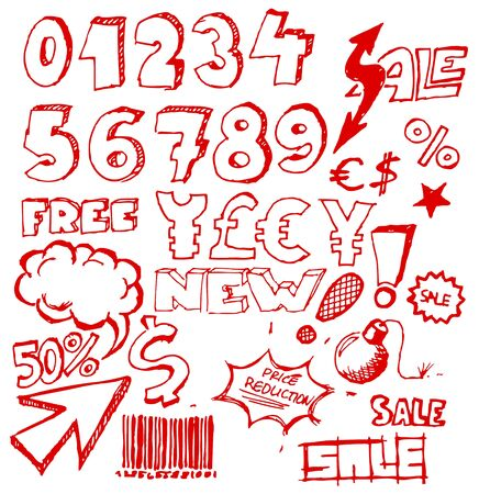 Set of doodle eshop  advert elements on white background Vector