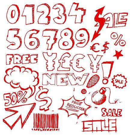 advert: Set of doodle eshop  advert elements on white background Illustration