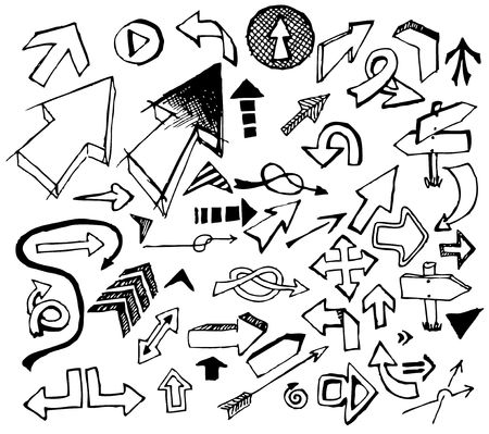 Big set of various black doodle arrows on white background Stock Vector - 6696764