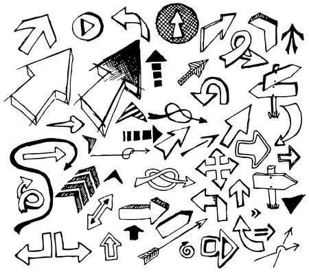 freccia destra: Grande serie di varie frecce doodle nero su sfondo bianco Vettoriali