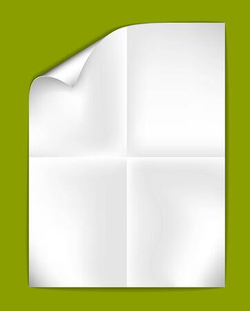 fold: Sheet of folded white paper on a green  background (illustration)