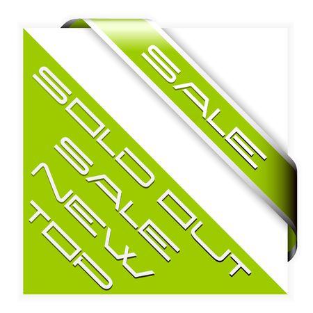 Sale green corner ribbon with white border Vector
