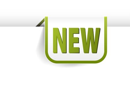 eshop: white and green rounded rectangle bookmark for new item in your eshop Illustration