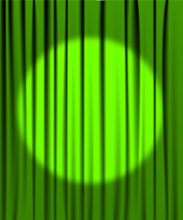 classical theater: Green curtain from the theatre with a spotlight Illustration