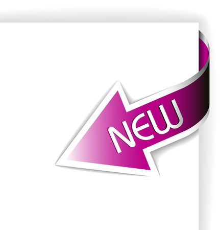 shortcut: New pink corner ribbon - arrow pointing at the content  Illustration