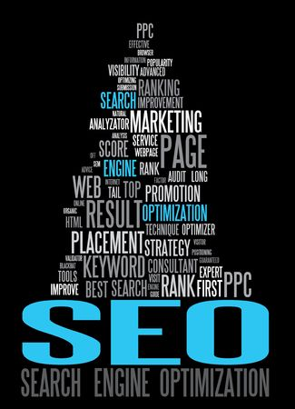 search engine optimized: SEO - Search Engine Optimization poster for your web Illustration