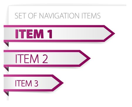 Purple paper arrows - modern navigation items on white background (vector) Stock Vector - 6763492