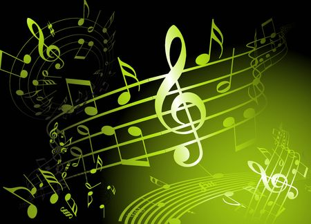 Green music theme with various notes Stock Vector - 6881113
