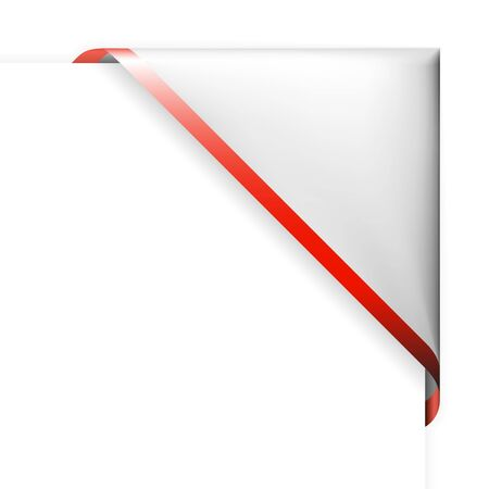 White corner ribbon with red thin border Stock Vector - 6881101