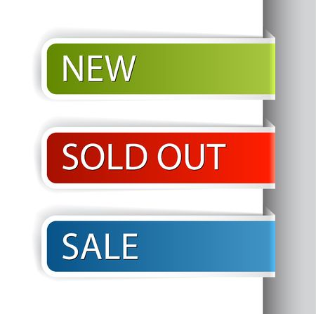 eshop: Colorful paper tags for eshop items - new, sale, discount, sold out