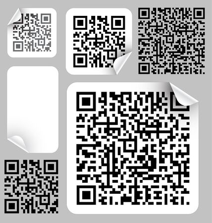 packaging industry: Set of labels with qr codes (modern bar codes) Illustration