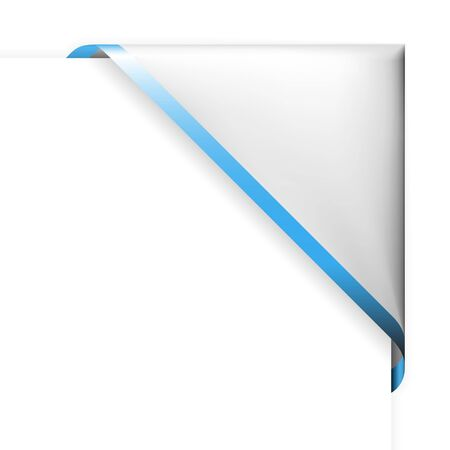 White corner ribbon with blue thin border and place for your text Stock Vector - 6881121