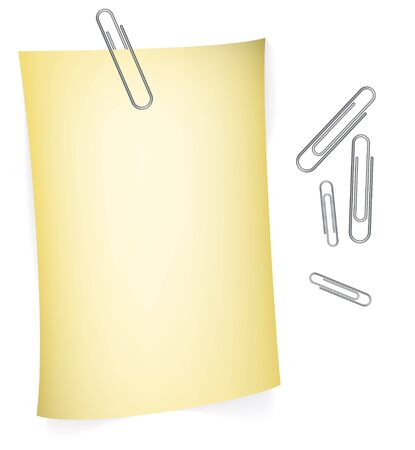 prick: Yellow paper for your notes with paperclips