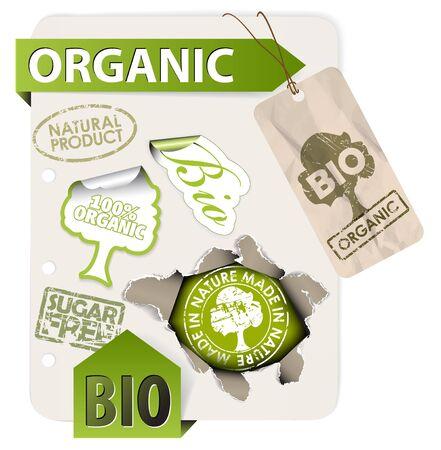 org�nico: Conjunto de bio, ecol�gica, elementos org�nicos - etiquetas, adhesivos, sellos, cintas en hoja de papel  Foto de archivo