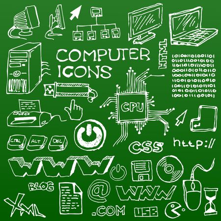 printer drawing: Set of white hand-drawn computer icons on green background