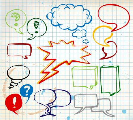 talking cartoon: Set of colorful doodle speech bubbles on chequered paper