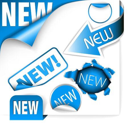 eshop: Set of blue elements for new items in eshop or on the web page Stock Photo