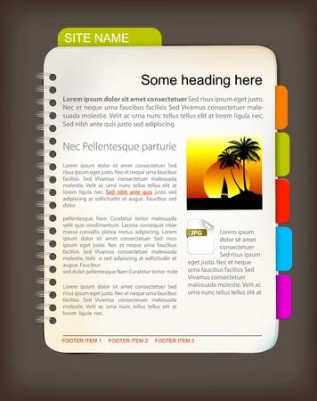 marcadores de libros: Plantilla de sitio Web - Open Bloc de notas con coloridos marcadores