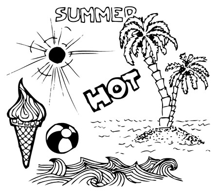 abstract doodle: Summer doodle elements - sun, ocean, palm trees, ice cream, ball Illustration