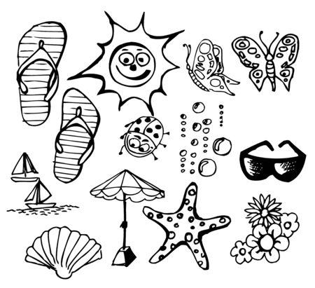 Summer doodle elements - sun, ocean, flower Stock Vector - 7089565