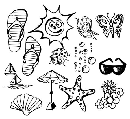flower drawings: Summer doodle elements - sun, ocean, flower