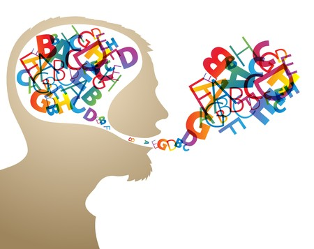 to say: Abstract speaker silhouette with colorful letters in the head and mouth Illustration