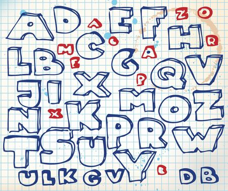 Hand drawn doodle alphabet on squared paper Stock Photo