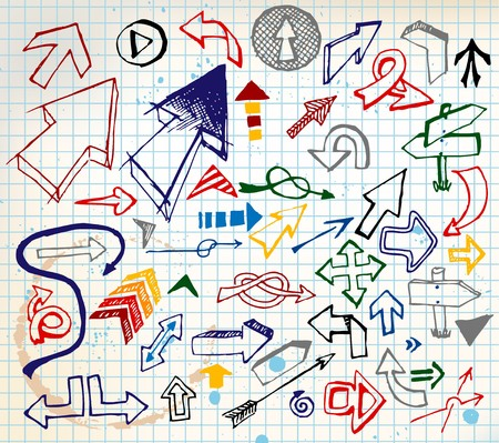 Big set of various colorful doodle arrows on a squared paper photo