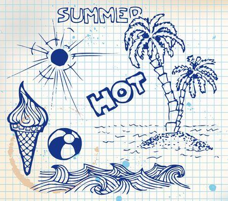 Summer doodle elements - sun, ocean, palm trees, ice cream, ball photo